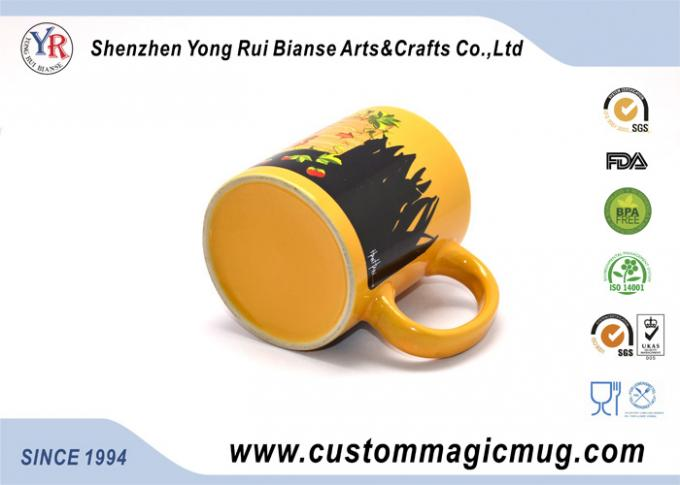 Novelty Heat Sensitive Color Changing Mugs , Thermochromic Coffee Mug
