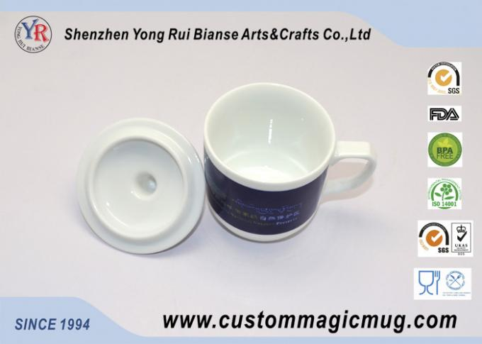 Straight Coffee Tea Pottery Temperature Color Changing Mug With Lid / Handle