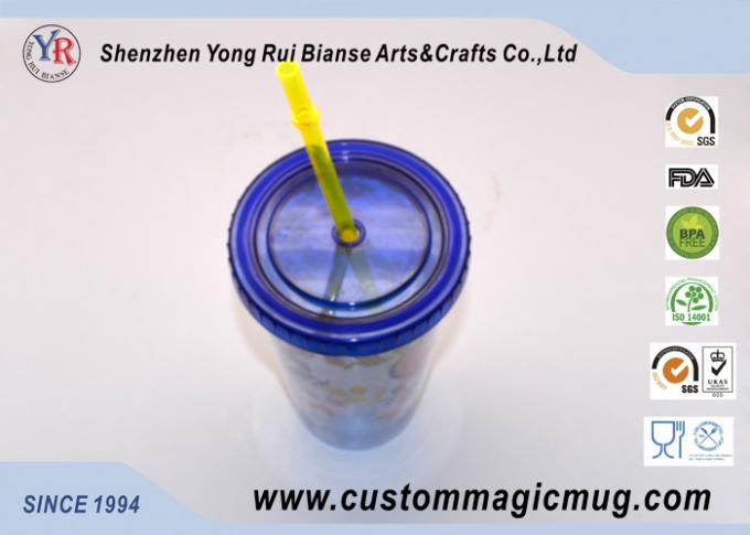 600 ml Custom V shape Plastic Straw Cup , Beverage Plastic Mug with Straw