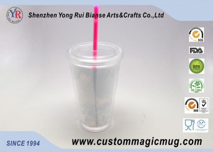 Single Layer Plastic Straw Cup With Lid , Large Reusable Plastic Cups 450ml