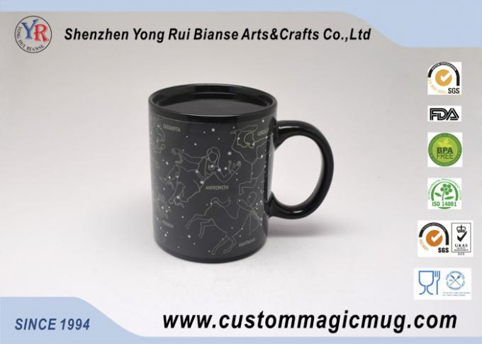 Black Star Signs Constellation Heat Sensitive Magic Mug , Straight Shape