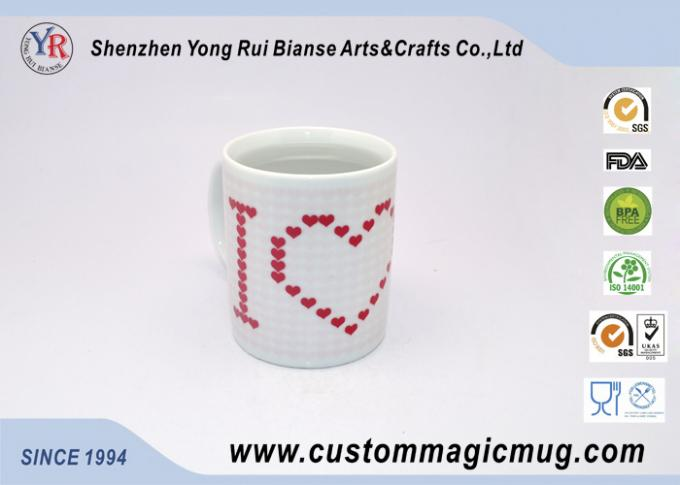 Full Red Heart Heat Sensitive Color Changing Mugs 11oz I LOVE YOU
