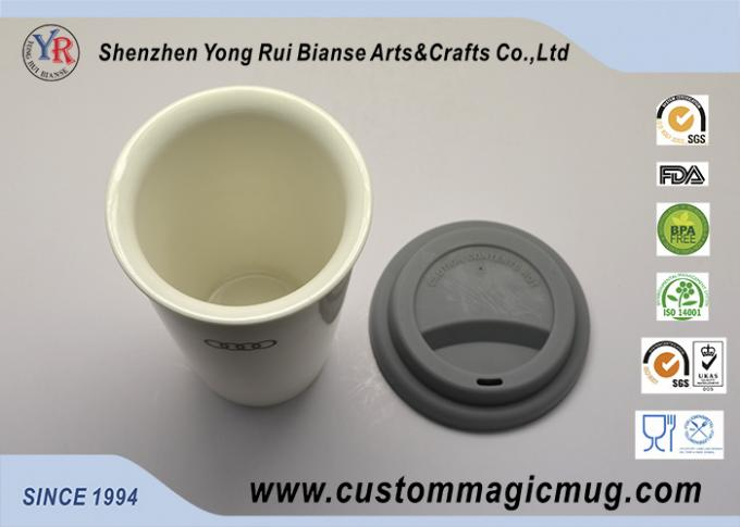 Magnesia Porcelain White Double Wall Ceramic Mug for Company Promotion