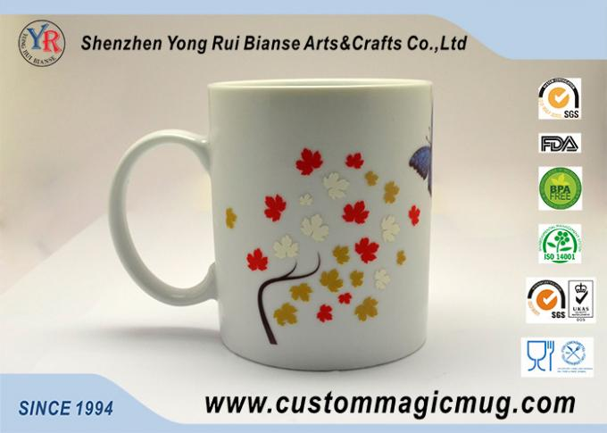 Butterfly White Ceramic Eco Friendly Mugs Cold Color Changing