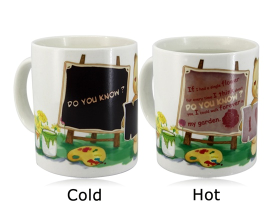 Advertising white color food grade magic ceramic mug FOR promotion gift