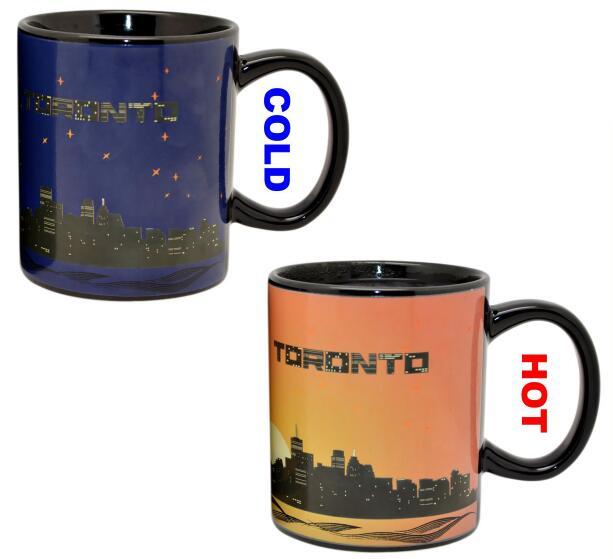 Temperature Change Color Changing Coffee Mug , Heating Color Changing Mug