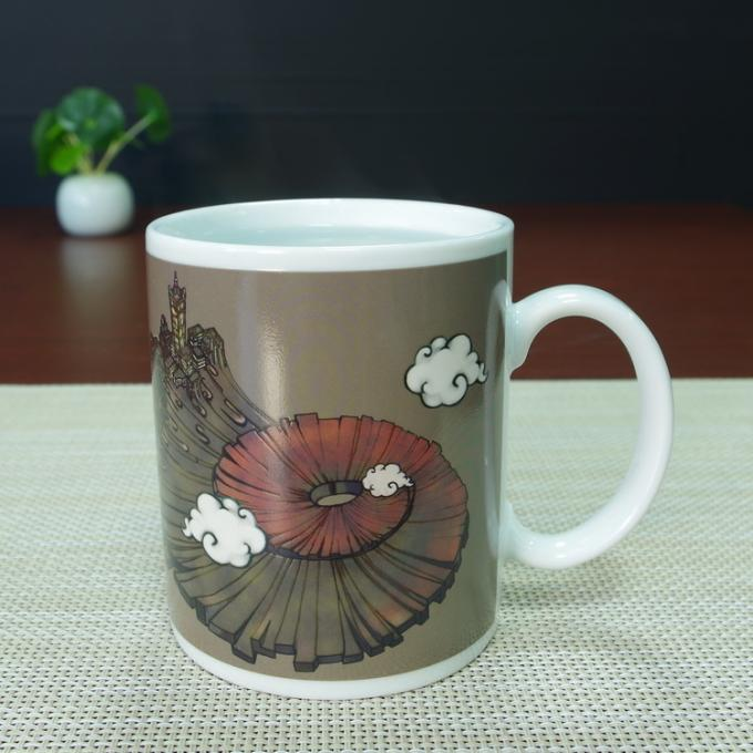 300Ml temperature sensitive color change ceramic mug / personalised heat sensitive coffee mug