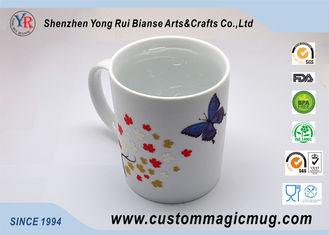 China Beautiful 11 oz Customizable Coffee Mugs Heat Change Flower And Butterfly Straight supplier