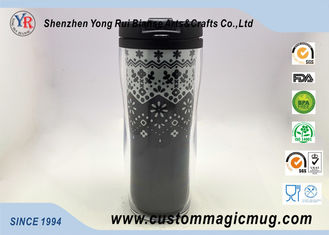 China Double Wall Eco Friendly Travel Mugs , Plastic Coffee Cups With Lids 350ml 12oz supplier