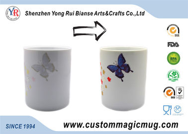 China Butterfly White Ceramic Eco Friendly Mugs Cold Color Changing supplier