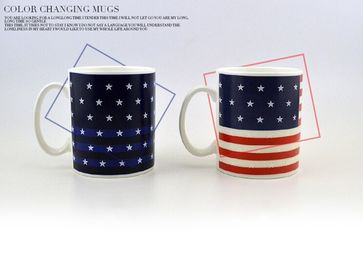 China Stoneware Eco Friendly Mugs American flag Heat Sensitive Color Changing Cup supplier