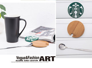 China Starbuck Customizabled Eco Friendly Mugs With Spoon And Bamboo Lid supplier