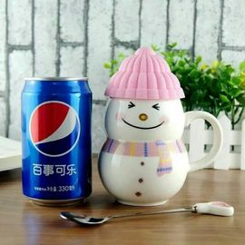 China Crramic Innovative Personalised Coffee Mugs Snowman With Lid supplier