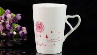 China Personalised V Shape Customized Coffee Mugs With Heart Shape Handle supplier