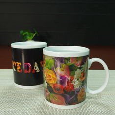 China Souvenir gift  Rose flowers color changing coffee mugs white porcelain supplier