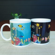 China Blue Patch Ocean Custom Magic Mug With AB Grade White Ceramic supplier