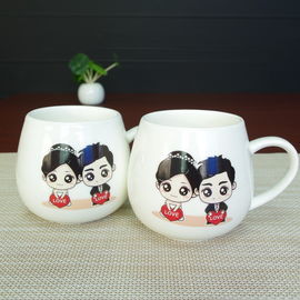 China Belly Shape High White Porcelain Couple Heat Activated Coffee Mug supplier