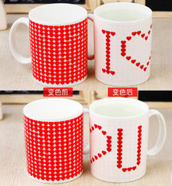 China White Promotion Mugs Color Changing Coffee Mug 19KGS 300ML FDA supplier