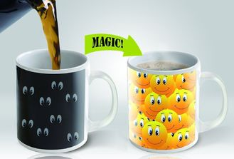 China Eco Friendly Smily Color Changing Coffee Mug 11oz Promotion Gift supplier