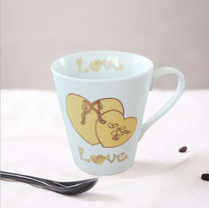 China High temperature decal Eco Friendly Mugs / Couples Cup Coffee Mug with spoon supplier