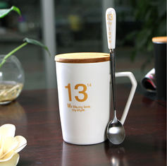 China Wooden lid Eco Friendly Mugs , hot change Cute Mugs For Couples supplier