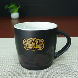 China Drum shaped matte black coffee personalised mugs that change with heat , porcelain supplier