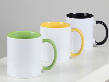 China 11oz Sublimation Color Inside Eco Friendly Coffee Mugs With Colorful Handle supplier