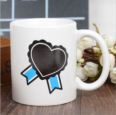China Heart Morph Eco Friendly Mugs , Heating Color Change Magic Mug Printing supplier