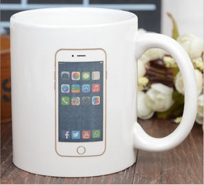 China Funny Creative Custom Color Changing Mug In White Color , Phone Logo supplier