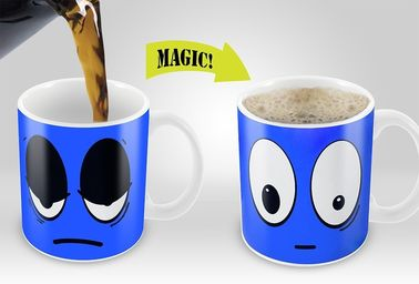 China Smile Magic Mug with Blue /Yellow /Red /White colors options Eco Friendly Travel Mugs supplier