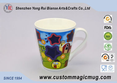 China V shaped Heat Sensitive Color Changing Mugs , Ceramic Temperature Color Changing Cups supplier