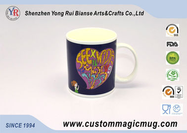 China Cartoon Heart Porcelain Heat Reactive Mugs , Creative Gift Color Changing Mugs supplier