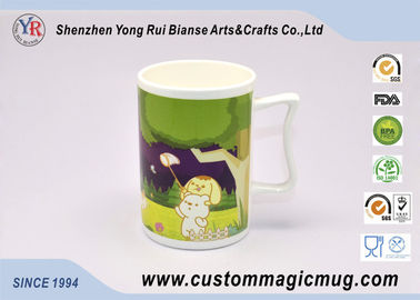 China Ceramic Travel Colour Changing Coffee Magic Photo Mugs with Special Handle supplier