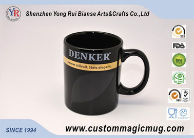 China Black Glazed Stoneware Custom Magic Mug Heat Reactive Unique supplier