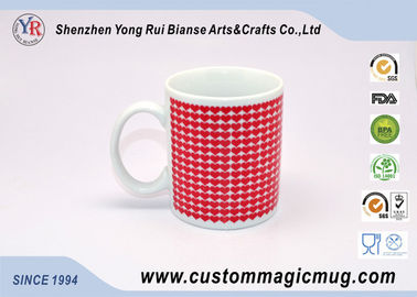 China Full Red Heart Heat Sensitive Color Changing Mugs 11oz I LOVE YOU supplier