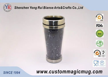 China Large Durable Heat Colour Change Travel Double Wall Coffee Mug With Lid supplier