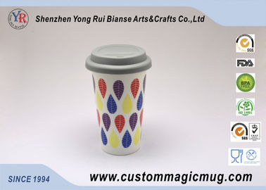 China Temperature Sensitive Printed Starbucks Ceramic Mug With Lid And Sleeve supplier