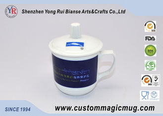 China Straight Coffee Tea Pottery Temperature Color Changing Mug With Lid / Handle supplier