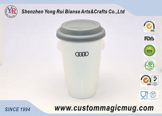 China Safe Scald Preventable Porcelain Double Wall Ceramic Mug With Silicone Lid And Sleeve supplier