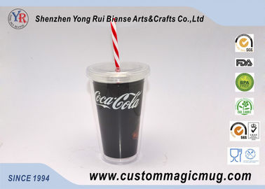 China Large Tea / Coffee Double Wall Party Plastic Cups With Lids And Straws supplier