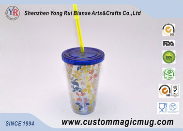 China 600 ml Custom V shape Plastic Straw Cup , Beverage Plastic Mug with Straw supplier