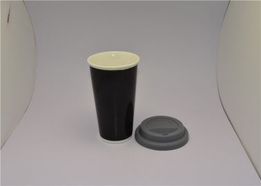 China Black Saint Valentine's Day Gifts V Shaped Mug Cup With Silicone Lid supplier