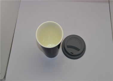 China Heat Sensitive Starbucks Ceramic Travel Mug , Color Changing Mugs With Silicone Lid supplier