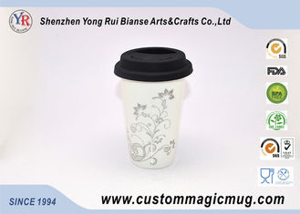 China Silicone Cover 12oz Starbucks Ceramic Travel Mug , Multi Photo Color Changing Mug supplier