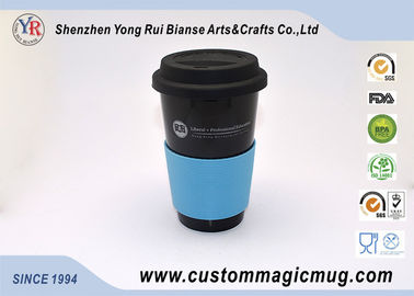 China Promotional Gift Porcelain Travel Coffee Mug With Silicone Lid , Starbuck Coffee Mug supplier