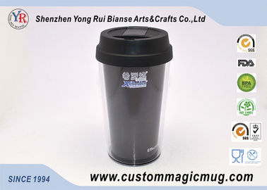 China ODM Reusable Fasion Office Coffee Double Wall Plastic Cup With Silicone Lid supplier