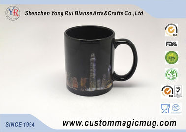 China Customized Heat Reactive Coffee Mugs , Porcelain Black Magic Cup supplier