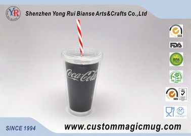 China Double Layer Sporting Plastic Straw Cup , 16 oz Color Changing Mugs Custom supplier