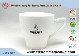 China 11oz 320ml Porcelain Milk Beverage V Shaped Mug , Color Changing Photo Mug supplier