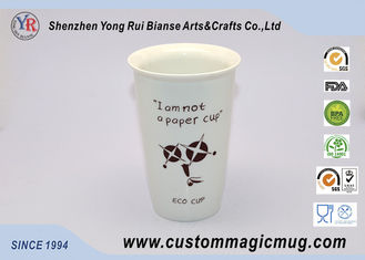 China Personalized Porcelain Double Walled Ceramic Mug With Silicone Lid 350ml supplier